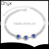 925 sterling silver round AAA blue zircon bracelet for party use