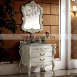WTS6033 Royal Elegant European Style Ivory champagne white single sink wood bath furniture with foil gold