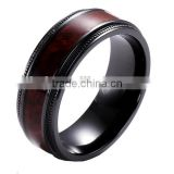 8mm black zirconium ring wholesale black titanium ring with Koa wood inlay