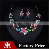 Classic floral rhinestone collar necklace women africa bridal jewelry set and diamond drop earrings