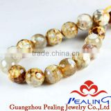 Round Ball Faceted Natural Agate Fire Gemstone Beads