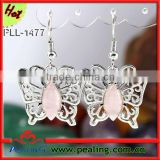 Charm Silver Plated Rose Quartz Stone Crystal Butterfly Shape Stone fashion dangle costume earrings