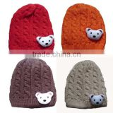 solid color knitted lovely bear baby girl&boy warm hat