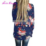 Hot Selling Boho Irregular Long Sleeve Wrap floral cardigan 2017 women