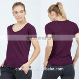 Cotton Polyester Ladies Burnout T Shirts Sexy Deep V Neck T Shirt Slim Fit Womens Blank Burnout Tee Wholesale