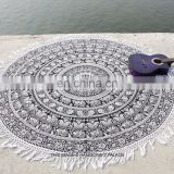 Indian Round Mandala Elephant Yoga Mat Boho Beach Throw Tapestry Blanket Tassels Round Mandala Wall Hanging picnic Wholesale