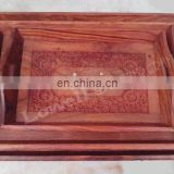 3 WOODEN CARVED SERVING TRAY WITH BRASS WORK