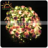 Rose Flowers Artificial LED Light Blinking Flower Headband Ribbon Flower Crown