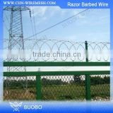 Hot Sale Chain Link Fence Top Concertina Razor Barbed Wire, Straight Razor Wire, Firm Pvc Coated Double Strands Razor Barb Wire