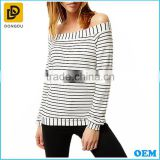 Sexy women off shoulder bardot design cream stripe long sleeves ladies knitted top for wholesale