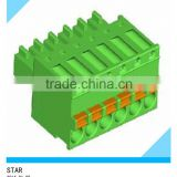 Spring clamp type terminal block pitch5.08mm 3.5mm 5.0mm black colour green 16pole 10pole