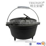 TRIONFO hot sale pre-seasoned cast iron three leged dutch oven