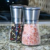 2 package of 2 Salt Mill and Pepper Grinder Glass Body Brushed Stainless Steel