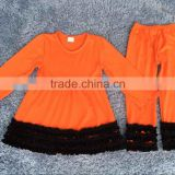 halloween long sleeve orange ruffle pants cotton set fall girls boutique clothing