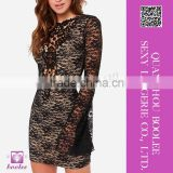 Hot Sexy Black Lace Nude Illusion Long Sleeves Bodycon Dress