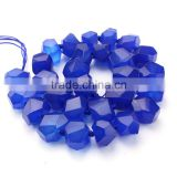 MJ3176 Fashion Middle Drilled Lapis Blue Faceted Nugget Beads,Royal Blue Faceted Stone Nugget Beads