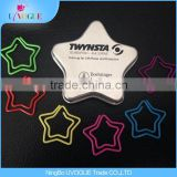 Eco-Friendly Office Supply Factory Produced Color heart/Star/horse/crown shape Paper Clips In Tin Box