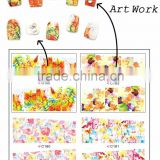 LARGE Flower Design Series (4 DESIGNS IN 1)Water decal full cover Stickers Flower&Strawberry&Cherry design nail sticker