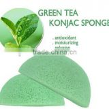 100% natural green tea konjac sponge/only natural fiber konjac sponge facial and skin cleansing