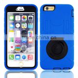 2015 Fresh popular rotate kickstand shockproof case PC+Silicone defender case for iPhone 6 plus 5.5""