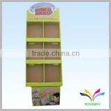 China Manufacturer cheap good quality storage rack green printing fancy movable portable paperboard brochure holder floor stand