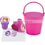 High Quality Hot Sale Funny Creative Plastic Pink Pail Filled with Sofia the First Mini Stampers Cheap Novelty Self-Inking Stamp