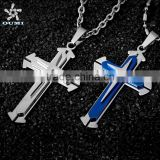 Wholesale Christian jewelry Gift Unisex's Men Black Silver Stainless Steel Cross Pendant Necklace                                                                         Quality Choice                                                     Most Popular