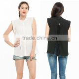 Women's Chiffon Blouse Lace Patchwork Casual Sleeveless Summer Shirt OEM ODM Type Clothing Factory Manufacturer From Guangzhou