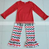 Wholesale kids Christmas chevron pants & red long sleeve baby girls cotton boutique outfit