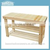 Natural color Wooden shoe changing bench layers shoe storage stool