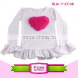 Children's clothing popular white cotton long sleeve T-shirt baby flutter ruffle top for baby girls                                                                                                         Supplier's Choice