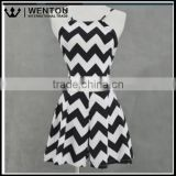 Wholesale Two Piece Set Print Wave Striped Sleeveless Tops+Short Skirts Women Backless Dress