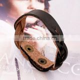 Unisex Mens Punk Wide Genuine Leather Belt Bracelet Bangle Cuff Wristband Gothic
