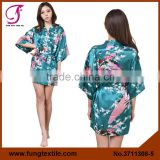 0215 Hotest Sale Women Silk Satin Peacock Robe for Bride and Bridesmaid Gift