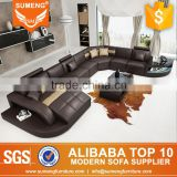 2016 Best model genuine leather cheers furniture recliner sofa with LED Light