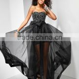 (MY2615) MARRY YOU Off-shoulder Beaded Floor-Length Transparent Skirt Black Evening Dress