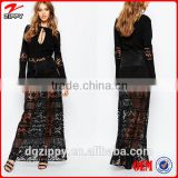 Hot Sexy Black Cotton Tassel Flared Sleeves Embroidered Maxi Dresses