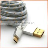 Fabric Braided 5 Pin Micro USB Cable Aluminum Gold Plated USB Cable