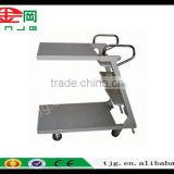 TJG CHINA Storage Warehouse Shelves To Cooperate With Steel Folding Table Trolley Movable Double Truck