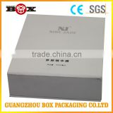 Large Size Folding White Cardboard Boxes Flat Pack With Logo Black Stamping Ribbon Closure For Handbag Luxury Packing