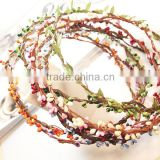 Handmade Artificial Bead Garlands Pip Berry Stem Wedding Bridal Hair Accessory Party Woman Girls Flower Wreath