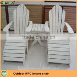 High quality WPC leisure chair and Outdoor Furniture Use Plastic Wood White Adirondack Chair with Footrest