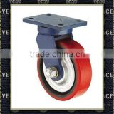 industrial iron caster wheel red pu castor wheel