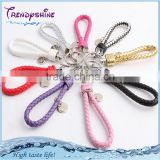 Fashion colorful braided leather keychain wholesale