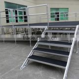 factory price aluminum portable stage for sale with guard rails and stair
