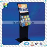 High quality floor stand acrylic black poster display rack/modern design acrylic brochure display rack made in China low price