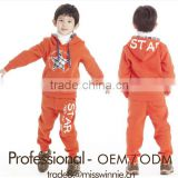 kid 100% cotton brushed fleece printed slim hoodie jackets and pants