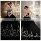 puffy white lace ball gown satin sleeveless black wedding dress