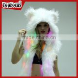 Custom High Quality Faux Fur Blank Sleeveless Led Light up White Hoodies