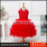 MGOO High Quality Elegant Red Christmas Dress For Girl Autumn Sleeveless Ball Gown For Infant 5620